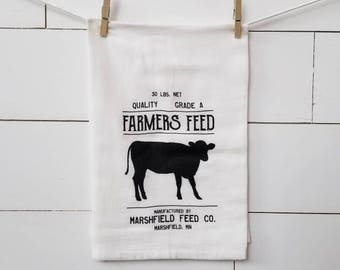 farmers feed flour sack towel. Farmhouse towel. Tea towel. Kitchen. Towel. Kitchen towel. Farmhouse kitchen. Black and white. Kitchen decor.