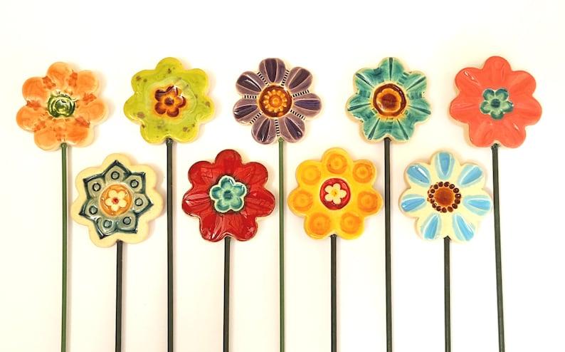 Ceramic Flowers Planter Decor Garden Decor Ceramic Etsy