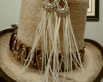 Long White Rooster Earrings