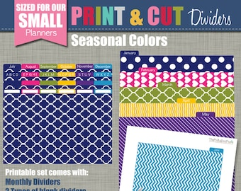 Print & Cut Dividers - Sized for our Small Planners - Seasonal Design - Instant Download