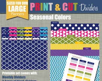 Print & Cut Dividers - Sized for our Large Planners - Seasonal Design - Instant Download