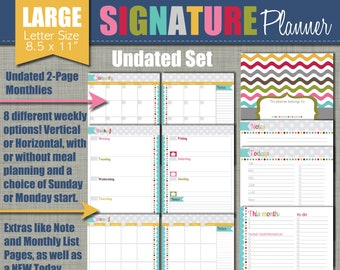 """NEW! UNDATED Printable Monthly Planner - Signature Design - Sized Large 8.5"""" x 11"""" PDF"""