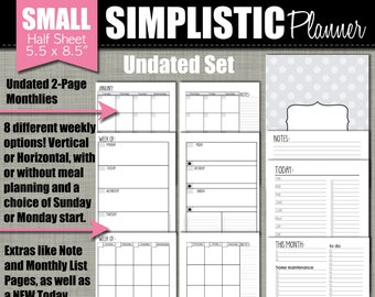 """NEW! UNDATED Printable Monthly Planner - Simplistic Design - Sized Small 5.5"""" x 8.5"""" PDF"""