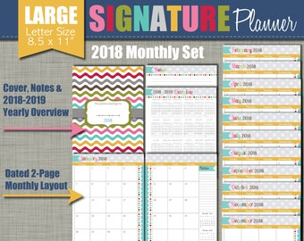 """20% OFF: 2018 Printable Monthly Planner - Signature Design - Calendar Year - Sized Large 8.5"""" x 11"""" PDF"""