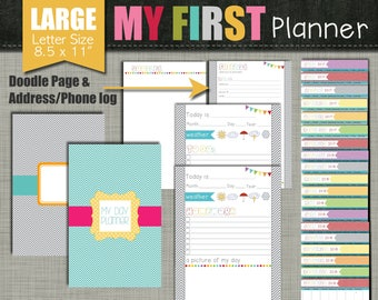 """My First Planner {Printable} Set - Sized Large 8.5"""" x 11"""" PDF"""
