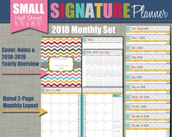 """20% OFF: 2018 Printable Monthly Planner - Signature Design - Calendar Year - Sized Small 5.5"""" x 8.5"""" PDF"""
