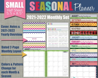 """NEW 2021-2022 Printable Monthly Planner - Seasonal Design - Academic Year - Sized Small 5.5"""" x 8.5"""" PDF"""