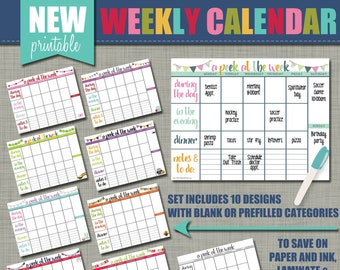 "NEW Weekly Printable Calendar - Wall Calendar - Set of 10 Designs - Sized 11 x 8.5"""