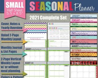 "2021 Printable Planner - Seasonal Design - Academic Year - Sized Small 5.5"" x 8.5"" PDF"