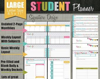 "Student Planner {Printable} Set - Sized Large 8.5"" x 11"" PDF - Signature Desgn - Undated"