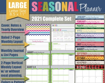"2021 Printable Planner - Seasonal Design - Calendar Year - Sized Large 8.5"" x 11"" PDF"