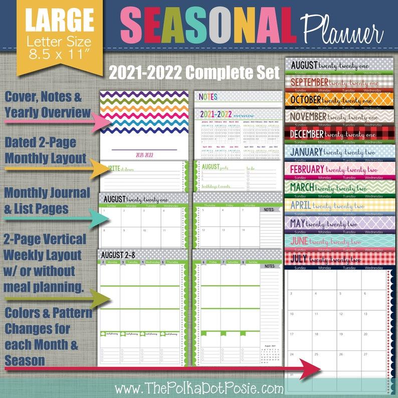 NEW 2021-2022 Printable Planner  Seasonal Design  Academic image 0