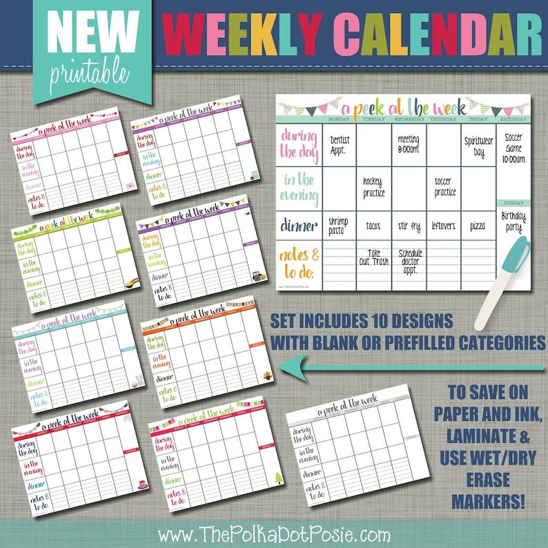 NEW Weekly Printable Calendar  Wall Calendar  Set of 10 image 1