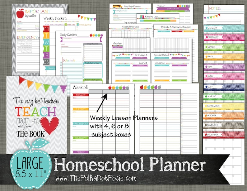 graphic regarding Printable Homeschool Planners identify Homeschool Planner Printable Established - Sized Superior 8.5\