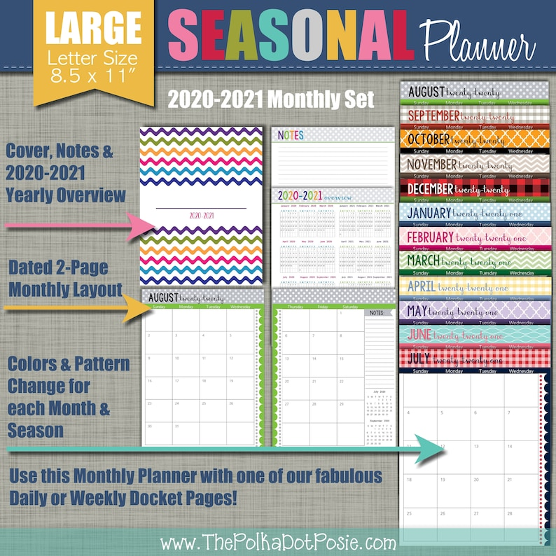 NEW 2020-2021 Printable Monthly Planner  Seasonal Design  image 0