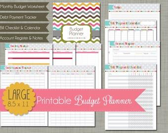"Budget Planner {Printable} Set - Sized Large 8.5 x 11"" PDF"