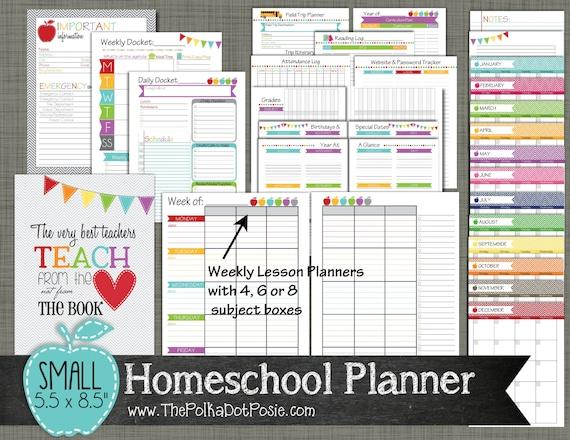homeschool planner printable set sized small 5 5 x etsy