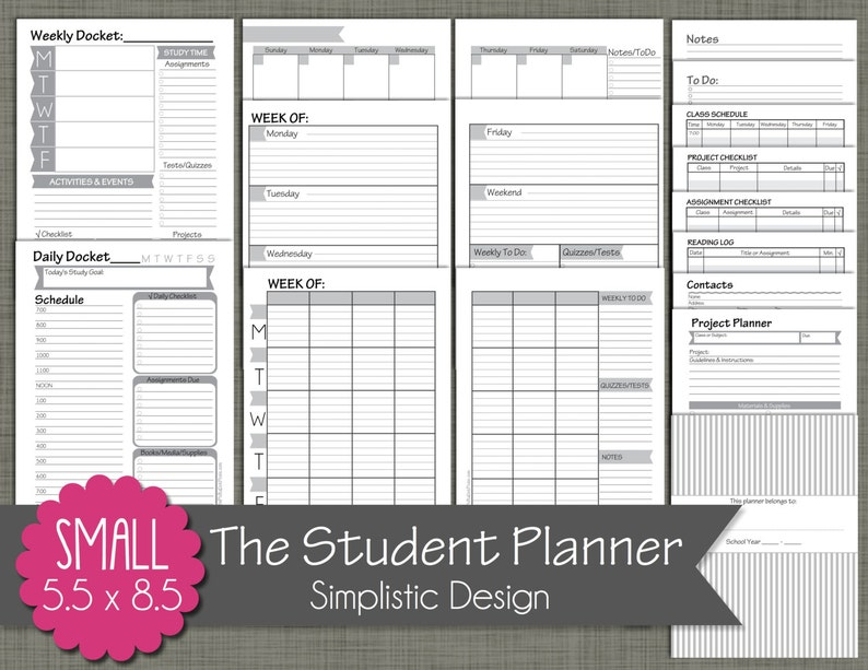 photograph regarding Student Planner Printable called University student Planner Printable Mounted - Sized Lower 5.5\