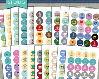 """NEW {Printable} Planner Stickers - Everyday Set - 3/4"""" Circle - INSTANT DOWNLOAD"""