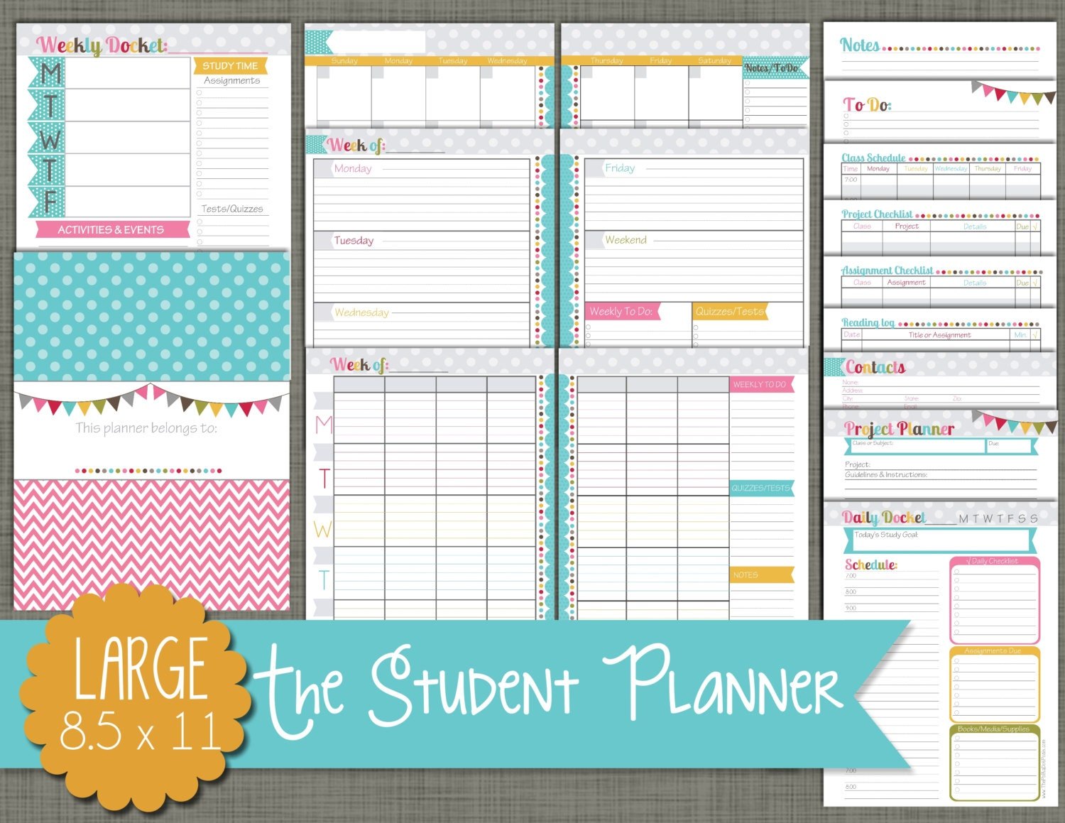 Student Planner Printable Set Sized Large 8.5 x | Etsy