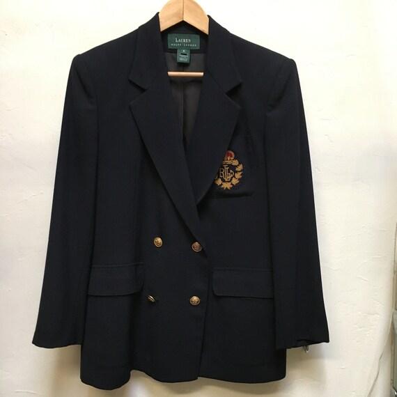 Vintage Ralph Lauren Navy blazer jacket 80s 90s sz