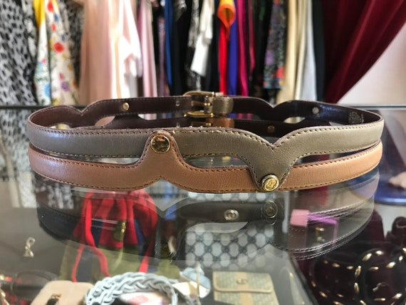 Vintage gucci belt two double buckles 70s - image 2