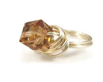 cfec49b3d Swarovski Crystal Ring Golden Shadow Swarovski Cube Ring Sterling Silver  Filled Wire Wrap Ring Size 7 Swarovski Ring Vintage Ring