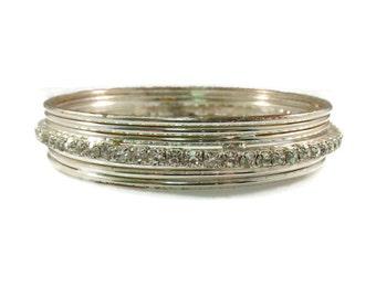 Fused Silver Tone and Rhinestone Bangle Bracelet