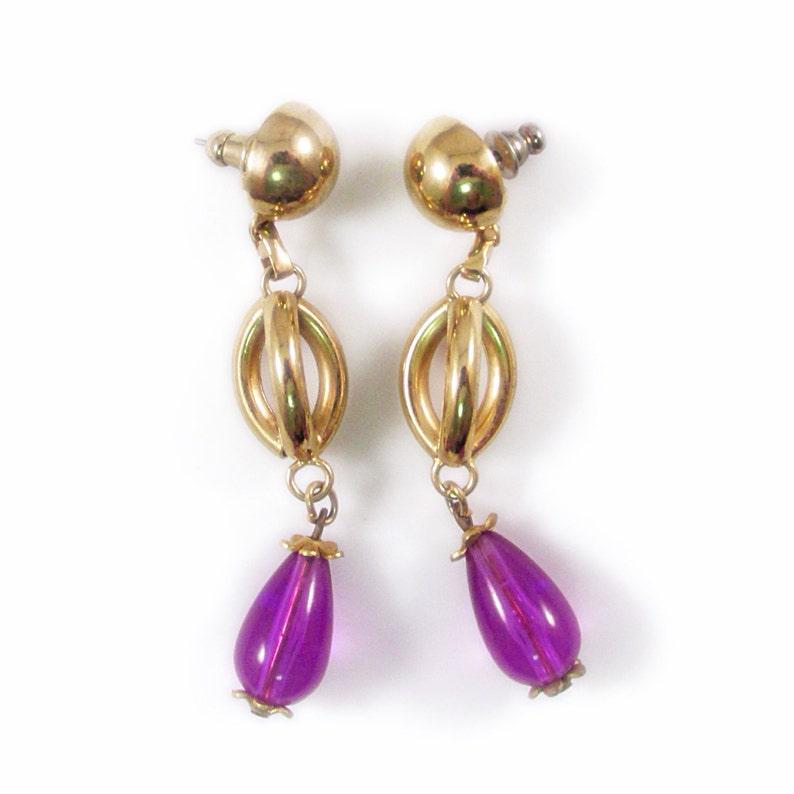 Gold and Purple Beaded Drop Pierced Earrings