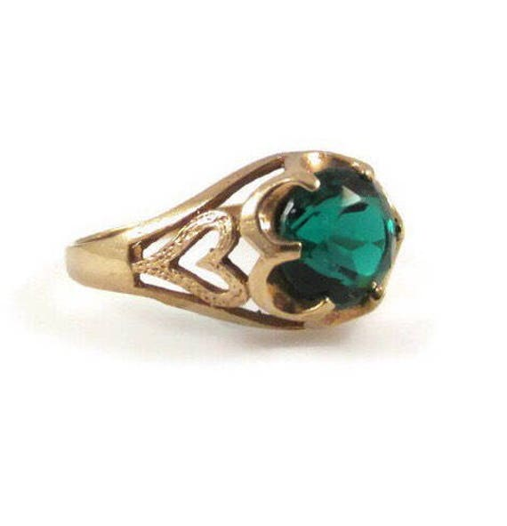 Emerald Ring Emerald Green Glass 10k Yellow Gold S