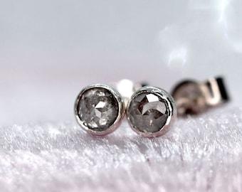 Grey Diamond Stud Earrings, April Birthstone, Rose Cut Grey Diamond, Real Diamond Earrings, Genuine Silver Diamond, Minimalist Diamond Studs
