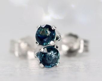 Cornflower Sapphire Stud Earrings, Sterling Silver Cornflower Blue Sapphire Ear Studs, September Birthstone Gift, Precious Stone Earrings