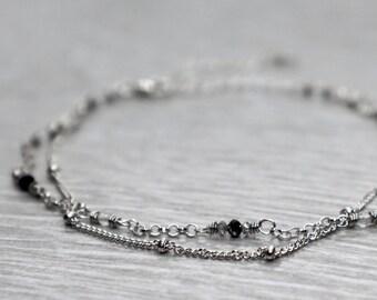Diamond Bracelet, Dainty Two Strand Chain Bracelet, Minimal Stacking Bracelet, April Birthstone Gift, Grey and Black Diamond Bracelet