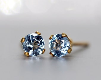 African Sapphire Stud Earrings, Cornflower Blue Sapphire Ear Studs, September Birthstone Gift, Single Stud or Pair, Tiny Blue Gold Studs
