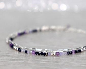 Sapphire, Tanzanite and Amethyst Bracelet, September, December and February Birthstone Gift, Minimal Blue and Purple Multi Strand Bracelet