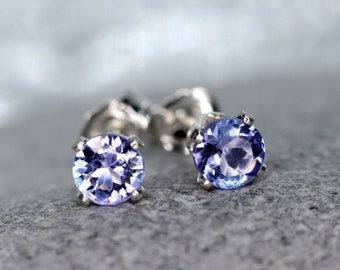 Tanzanite Stud Earrings, Rare Faceted Blue Tanzanite Ear Studs, December Birthstone Gift, 3mm or 4mm Stone Sterling Silver or Gold Studs