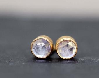 Tanzanite Stud Earrings, Tiny 3mm Gold Tanzanite Stud, December Birthstone Gift, Small Blue Earrings, Rare Tanzanite Gemstone Earrings