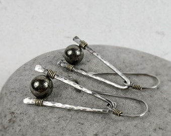 Pyrite Mixed Metal Earrings, Hammered Wire Sterling Silver Earrings, Rustic, Boho Earrings, Protection Stone, Gift for Her, Pyrite Jewelry