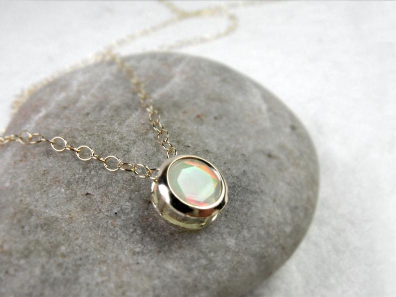 Gift for Her Dainty Welo Fire Opal Pendant Opal Jewelry October Birthstone Gift Ethiopian Opal Necklace Minimalist Wedding Jewellery