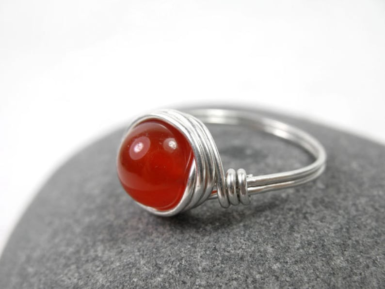 Creativity Stone Gift for Her Base Chakra Red Gemstone Ring July birthstone Red Carnelian Wire Wrapped Ring Boho Sterling Silver Ring