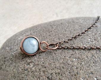 Aquamarine Pendant, Dainty March Birthstone Gift, Wire Wrapped Gemstone Pendant, Throat Chakra Pendant, Gift for Her, Minimalist Yoga Gift