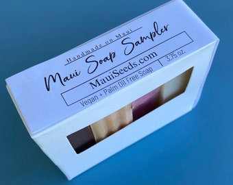 Maui Soap Sampler/Handmade Soap/Sample Sized Bars/Four Samples in one Bar/Gifts/Vegan Soap/Palm Oil Free/Sample Sized Soaps/Handmade on Maui