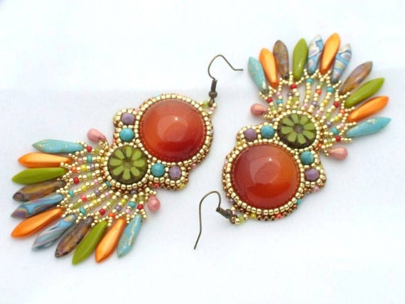 Colorful Beaded Earrings Tutorial Bead Embroidery Earrings Etsy