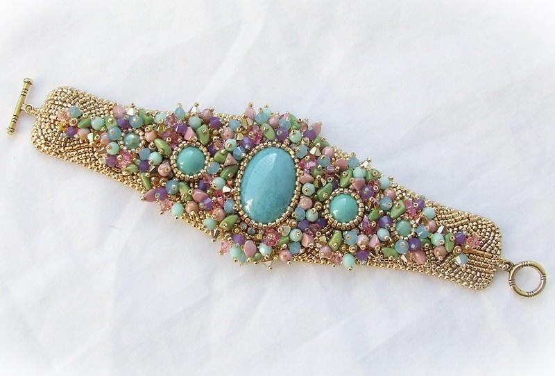 Kit de broderie de perle, perle, perle, Bracelet manchette en elfique jardin, cadeau d'anniversaire pour elle, bijoux bricolage Kit modèle, le Kit Bracelet perle, Bracelet DIY tutoriel 4d7245