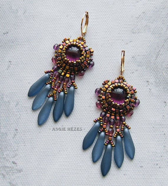 Beaded Earrings Diy Kit Bead Embroidery Earrings Tutorial Beading Pattern And Materials Dangle Earrings For Women Amethyst Sky