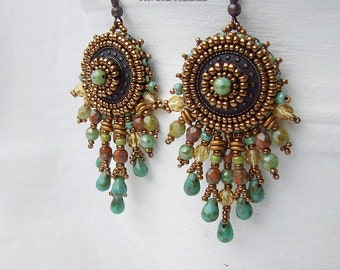 Bead Embroidery Earrings DIY Kit, Beading Pattern and Material, Beaded Boho Dangle Earrings for Women, Colorful Earring Tutorial Materials