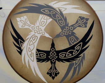 TRIPLE CELTIC RAVEN Deep toned Hoop Drum, Native American-style. Hand painted. Tribal. Percussion. Spirituality. Made to order