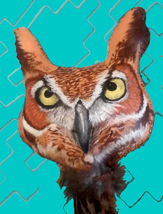 Rawhide Rattle Hand Crafted And Painted Horned Owl Totem Etsy
