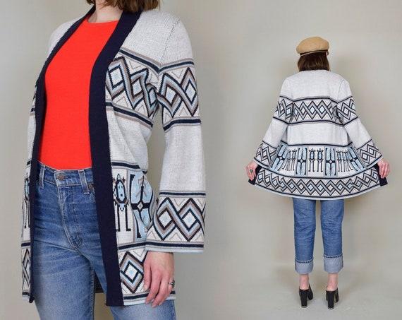 1970s Southwestern Print Sweater | 70s Knit Wrap Sweater | Space Dye 70s Sweater | 70s Native Printed Sweater