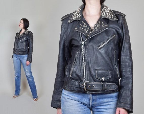 1970's Studded Leather Jacket | 70's Motorcycle Jacket